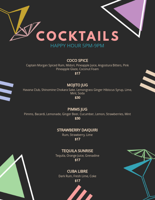Free Printable Drink Menu Template Luxury Bar Cocktail Menu Template