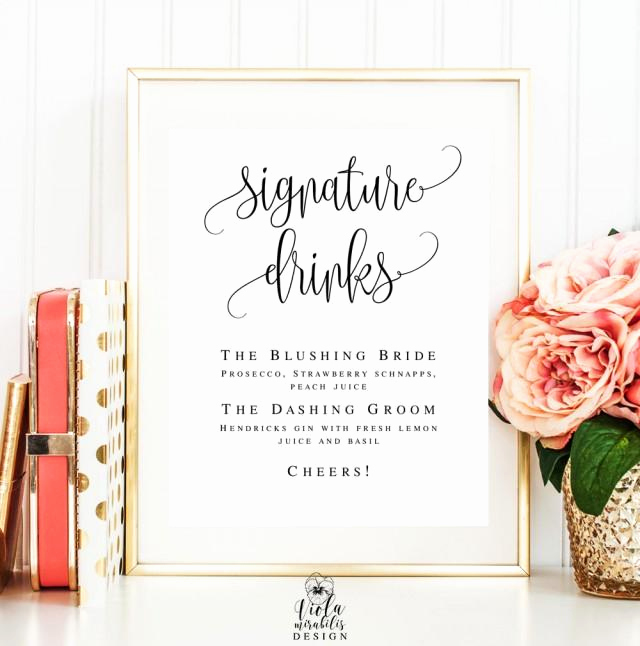 Free Printable Drink Menu Template Luxury Signature Cocktail Sign Editable Template Wedding Sign Bar