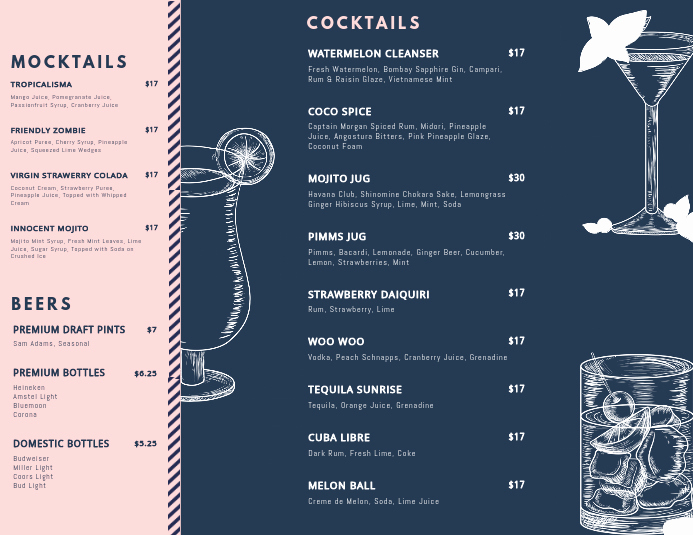 Free Printable Drink Menu Template New Landscape Cocktail Menu Templates