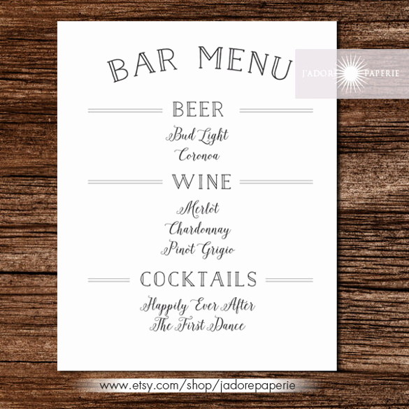 Free Printable Drink Menu Template Unique 35 Bar Menu Templates Psd Eps Docs Pages