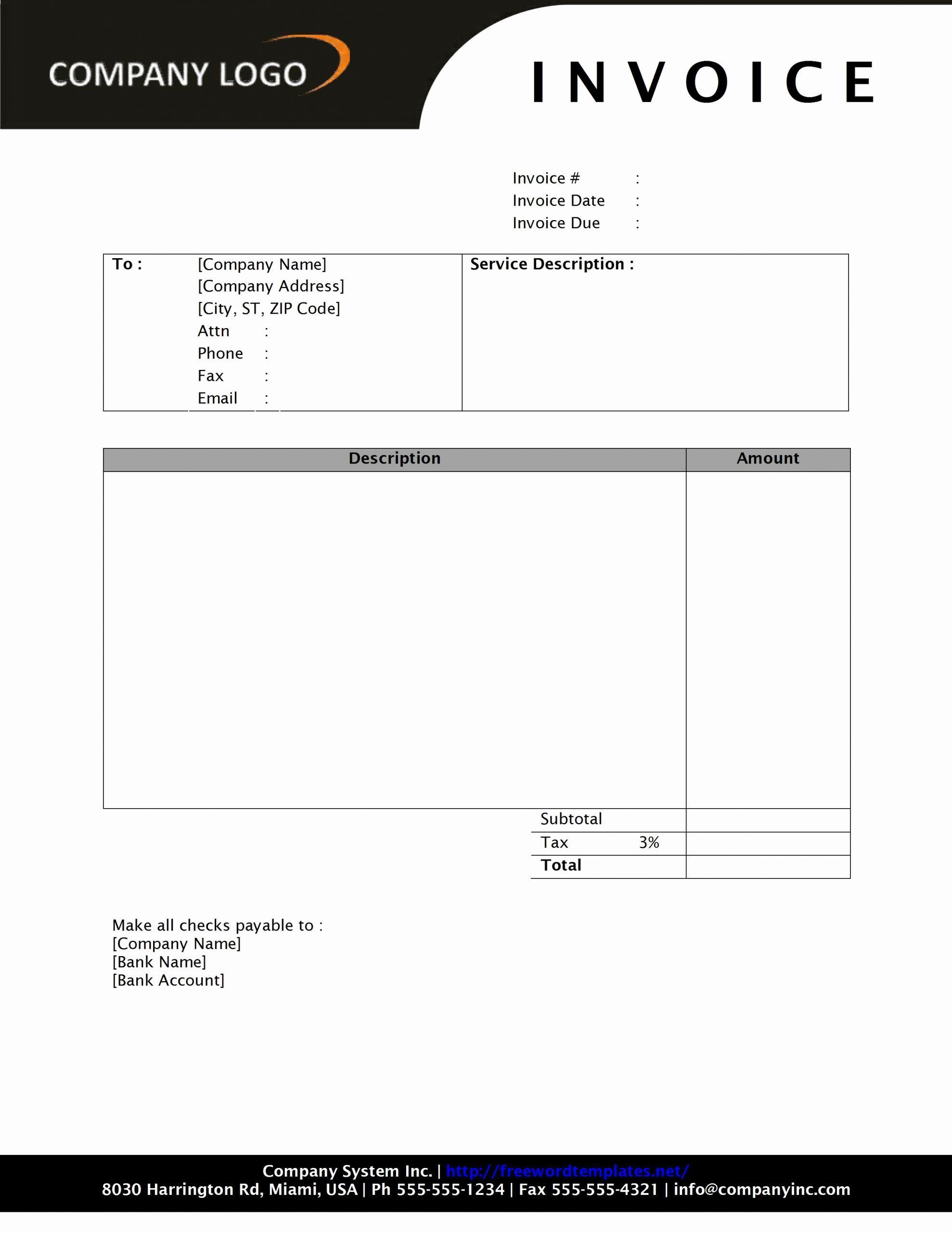 Free Printable Invoice Template Word Beautiful Invoice Template Word 2010