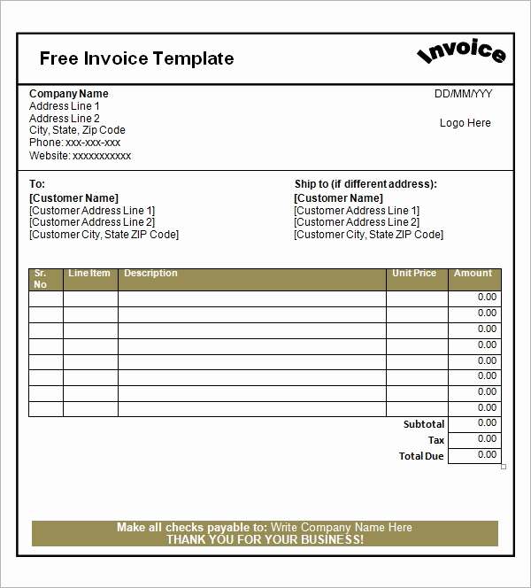 Free Printable Invoice Template Word Elegant Free 47 Sample Blank Invoice Templates In Word