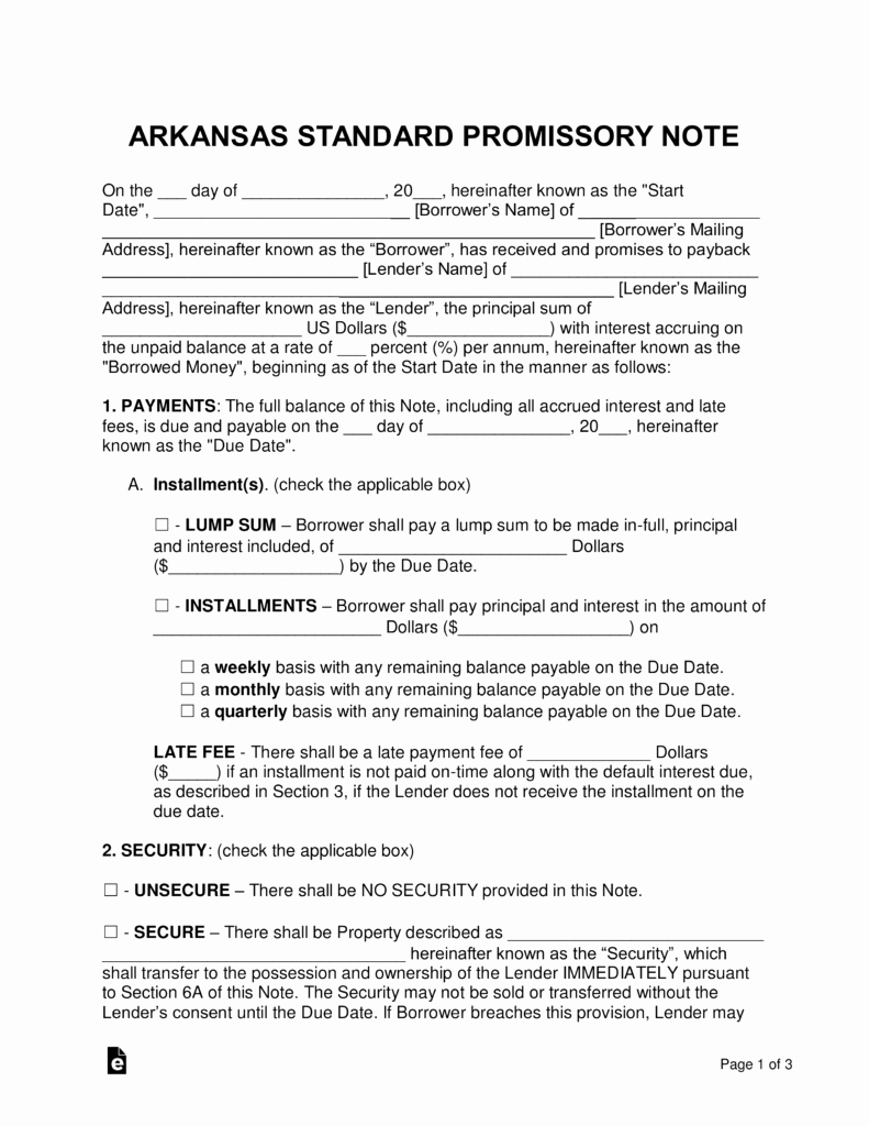 Free Promissory Note Template Pdf Inspirational Free Arkansas Promissory Note Templates Word
