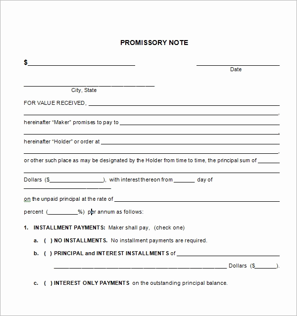 Free Promissory Note Template Pdf New Free Promissory Note Template