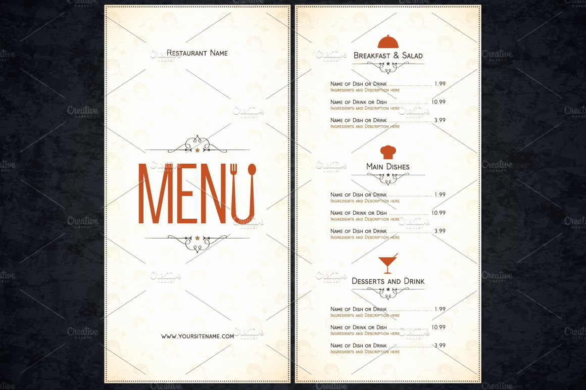 Free Restaurant Menu Template Word Best Of Restaurant Menu Template Card Templates Creative Market