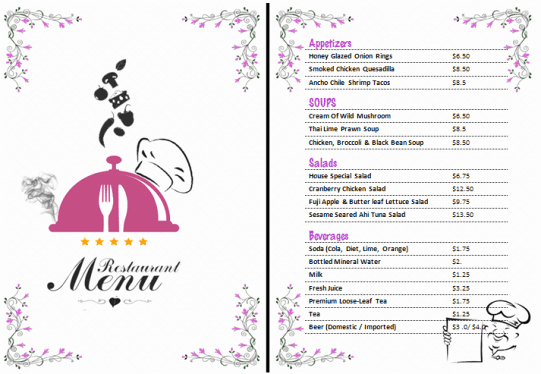 Free Restaurant Menu Template Word Fresh 21 Free Free Restaurant Menu Templates Word Excel formats