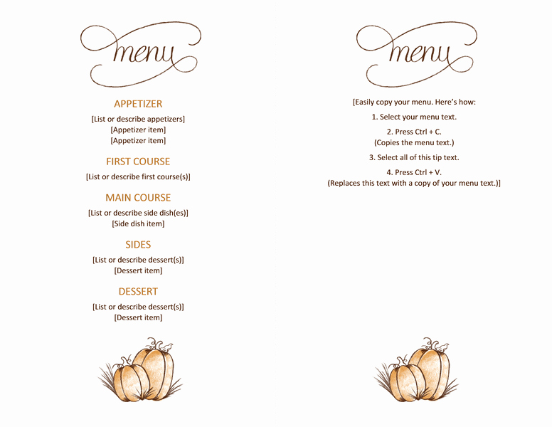 Free Restaurant Menu Template Word Fresh Free Able Printable Thanksgiving Menu