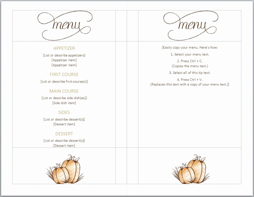 Free Restaurant Menu Template Word Unique Free Thanksgiving Menu Template