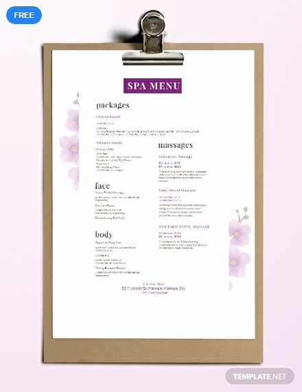 Free Salon Menu Template Lovely Free Spa Menu Cute Ideas for Things
