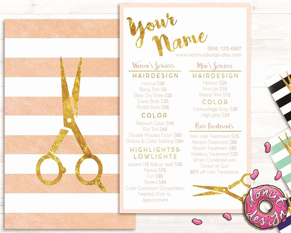 Free Salon Menu Template Luxury Premade Gold Striped Hair Stylist Service List Price List