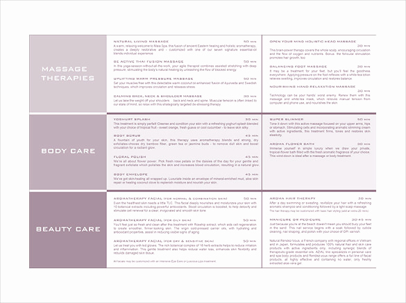 Free Salon Menu Template New 21 Spa Menu Templates Psd Eps