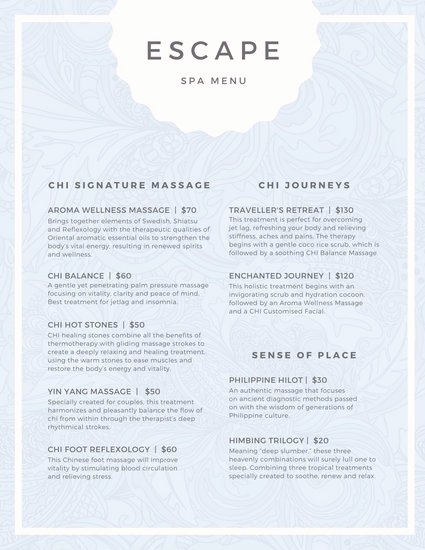 Free Salon Menu Template Unique Pastel Pattern Spa Menu Templates by Canva