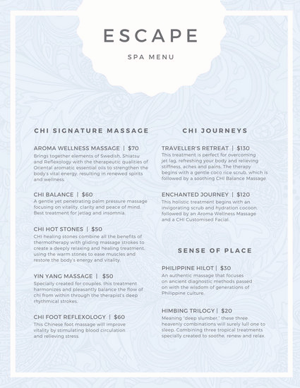 Free Salon Service Menu Template Awesome Pastel Pattern Spa Menu Templates by Canva