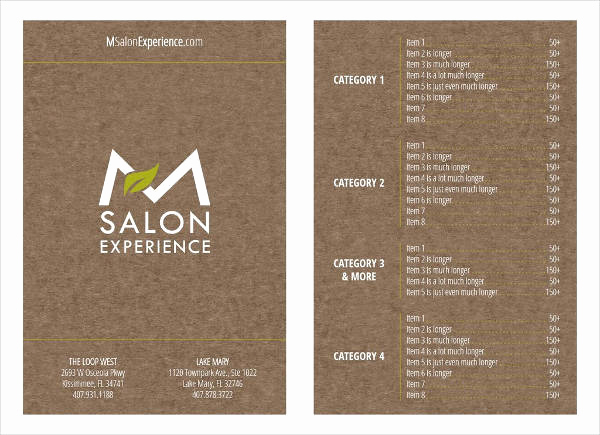 salon menu template