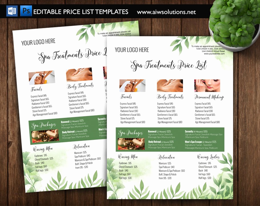Free Salon Service Menu Template Best Of Green Spa Price List Id5 Flyer Templates Creative Market