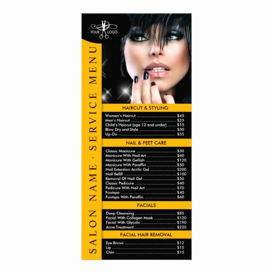 Free Salon Service Menu Template Fresh Hair Nail Salon Service Menu with Price List
