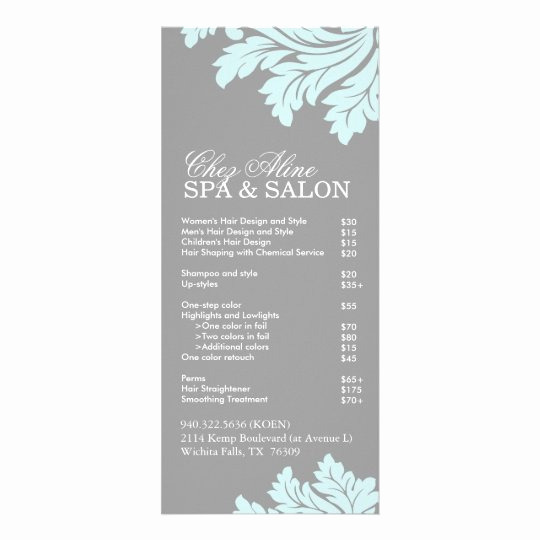 Free Salon Service Menu Template Inspirational Salon and Spa Service Menu