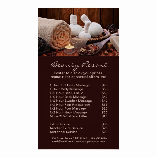 Free Salon Service Menu Template Luxury Promotional Spa Menu Services Poster Template