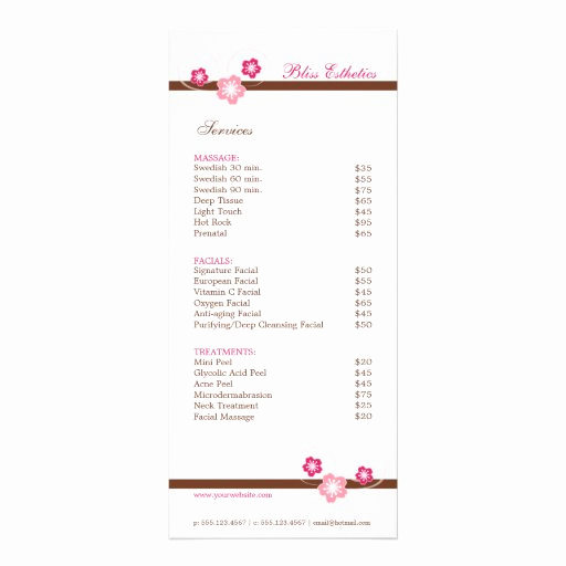 Free Salon Service Menu Template New Sakura Spa Menu Template Double Sided