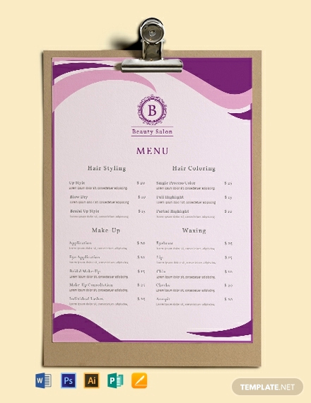 Free Salon Service Menu Template Unique Free Salon Menu Template Word Psd Indesign
