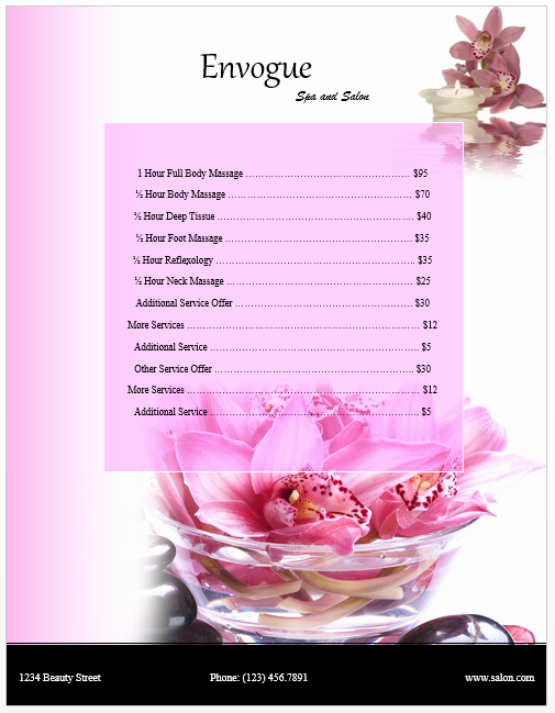 Free Salon Service Menu Template Unique Spa Price List Template Microsoft Word Templates