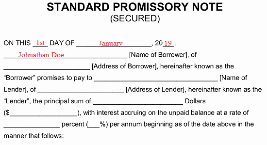 Free Secured Promissory Note Template Fresh Free Secured Promissory Note Template Word