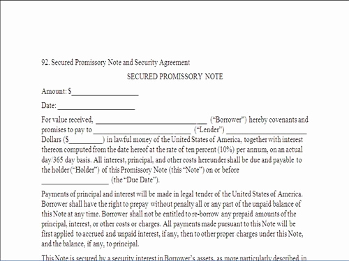 Free Secured Promissory Note Template New 25 Of Iou Contract Template