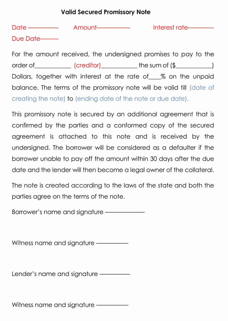 Free Secured Promissory Note Template Unique Secured Promissory Note Free Templates & Examples