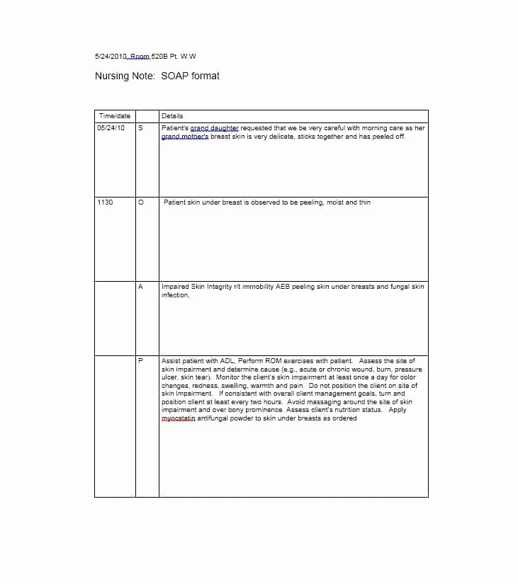 Free soap Note Template Lovely 40 Fantastic soap Note Examples & Templates Templatelab