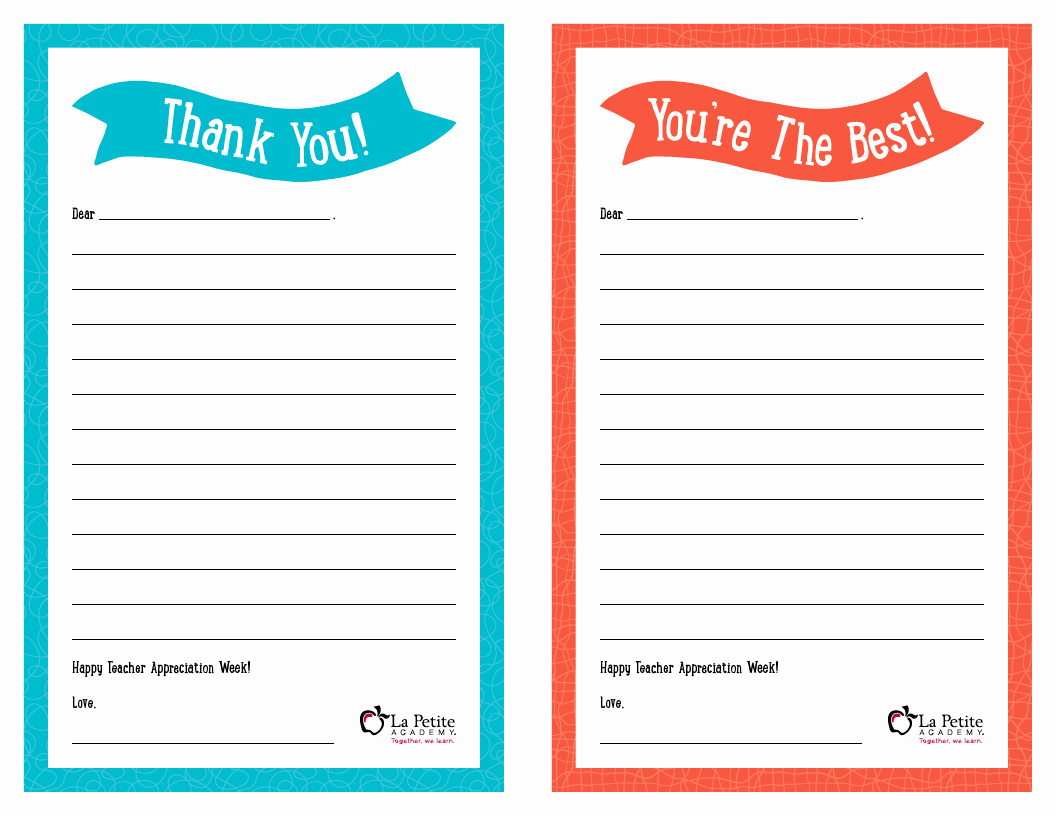 "Free Thank You Note Template Awesome Teacher Appreciation Week – Free Printable ""thank You"