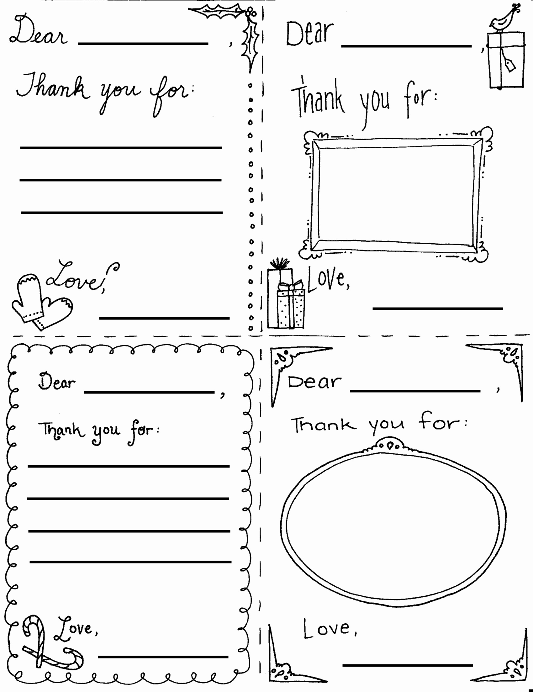 "Free Thank You Note Template Beautiful Printable Christmas ""thank You"" Cards for Children"