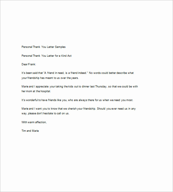 Free Thank You Note Template Best Of 9 Sample Thank You Notes – Free Sample Example format