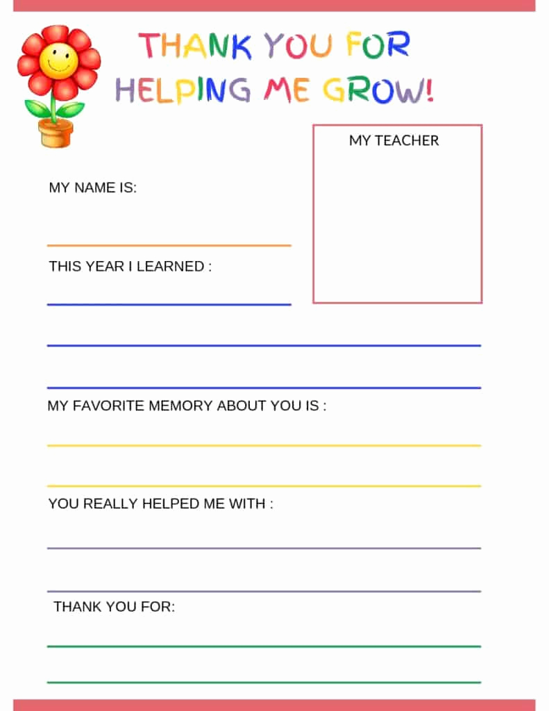 Free Thank You Note Template Best Of Thank You Letter to Teacher From Student Free Printable