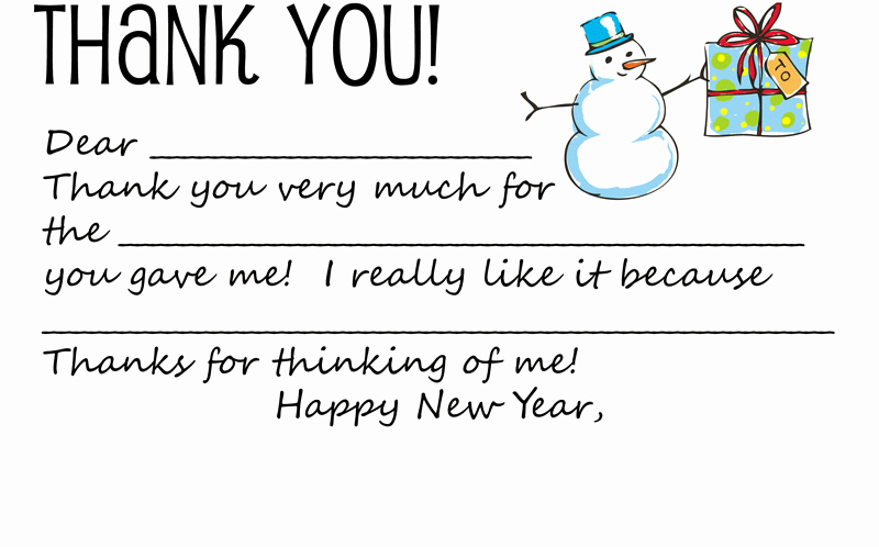 printable holiday thank you note template for kids