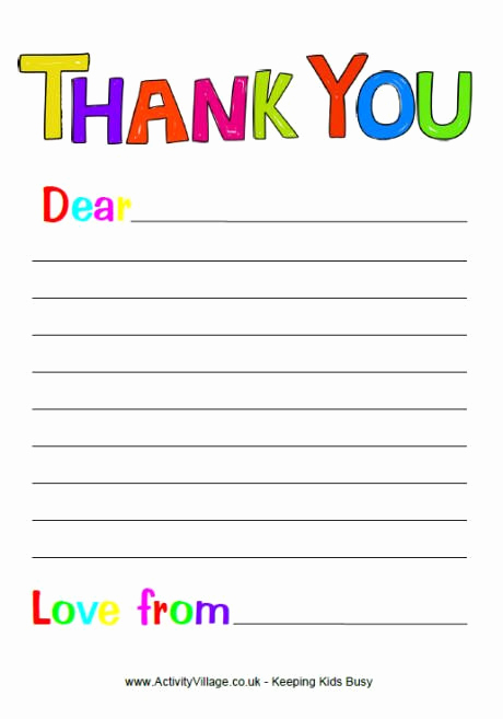 Free Thank You Note Template Fresh Blank Thank You Letter Template