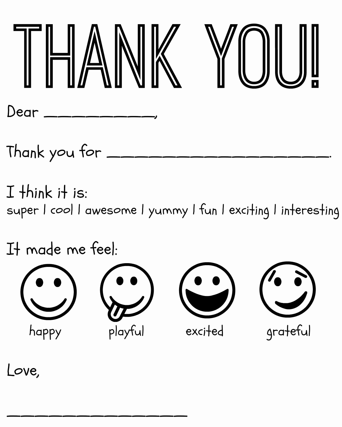 Free Thank You Note Template Fresh Free Printable Kids Thank You Cards to Color