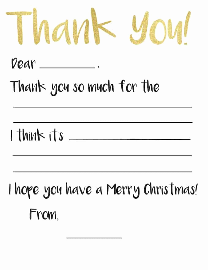 Free Thank You Note Template Luxury Kid S Thank You Card Printable