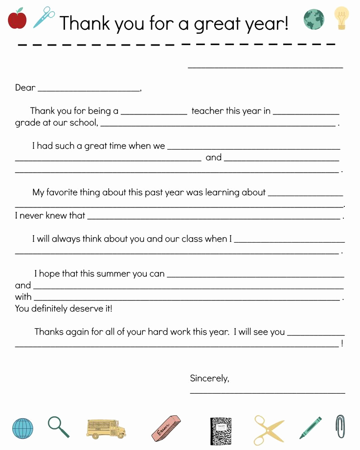 Free Thank You Note Template New End Of Year Teacher Thank You Note
