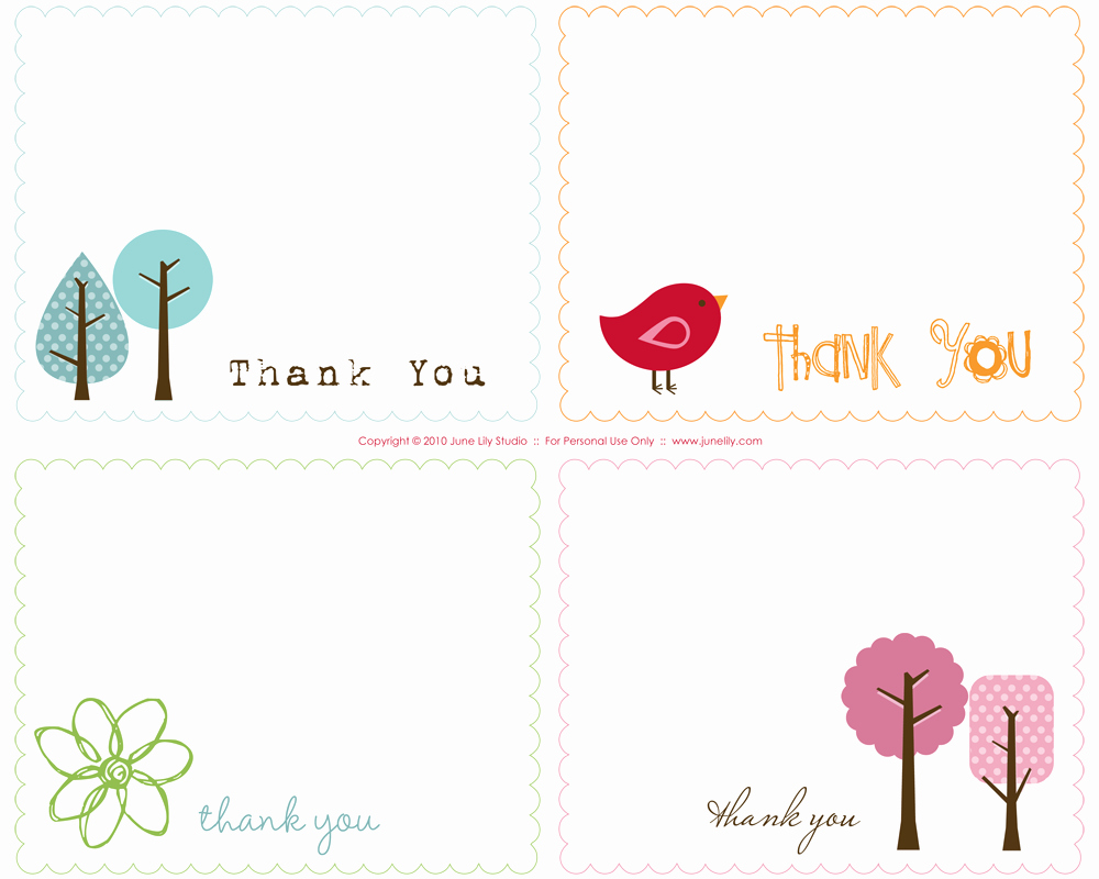 Free Thank You Note Template New Free Printable Thank You Notes June Lily