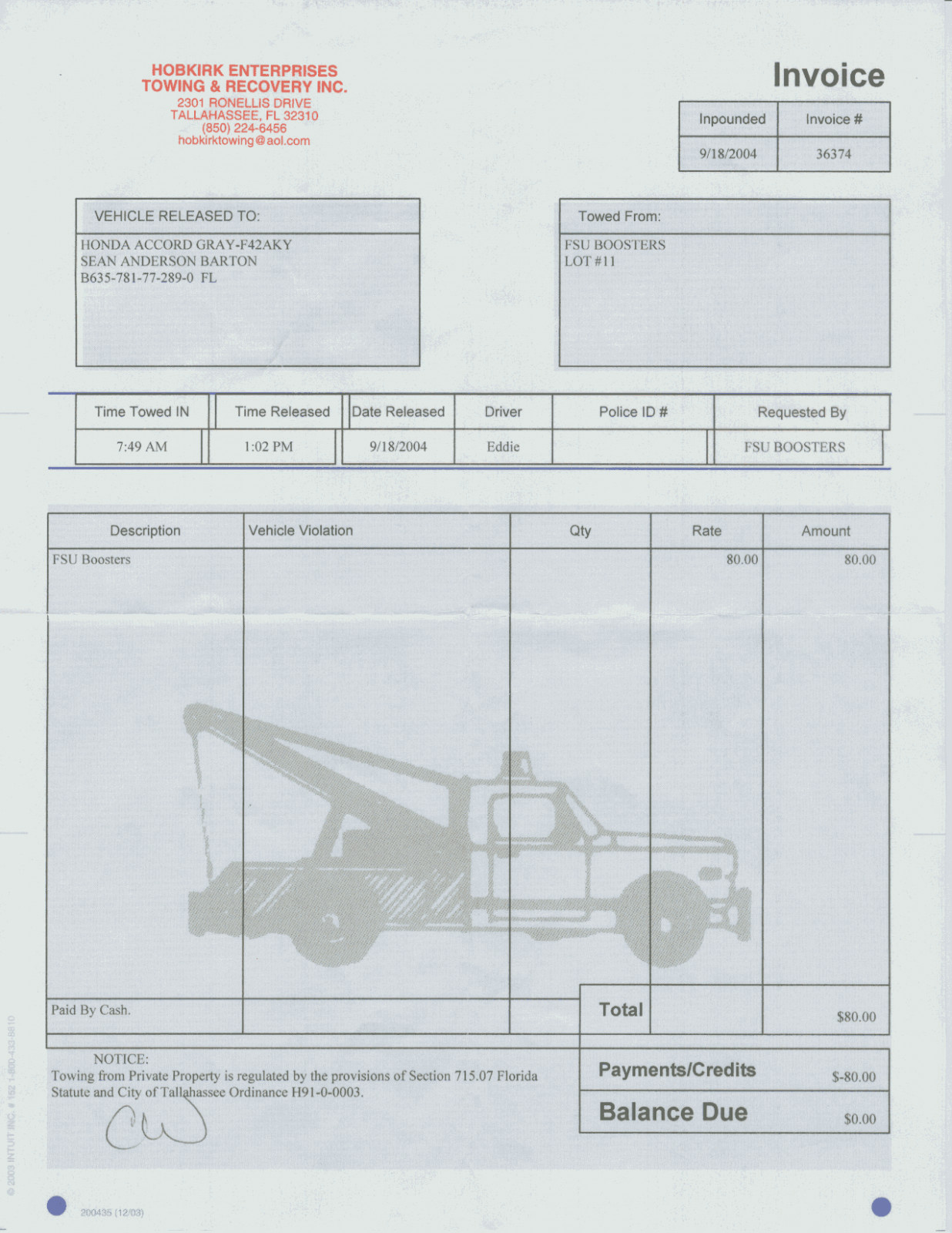 Free towing Invoice Template Awesome Blank tow Truck Receipt is