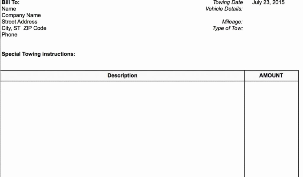 Free towing Invoice Template Lovely Blank towing Invoice Template