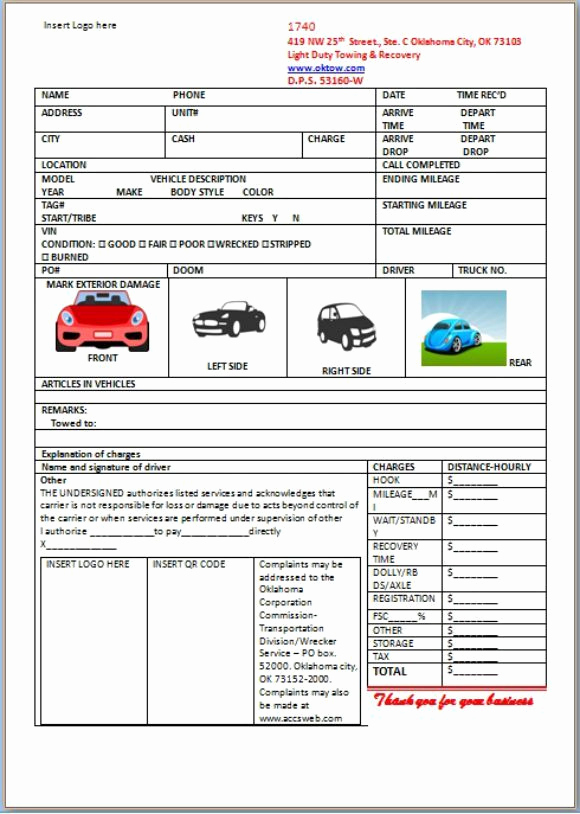 Free towing Invoice Template Luxury Car Storage Invoice Template
