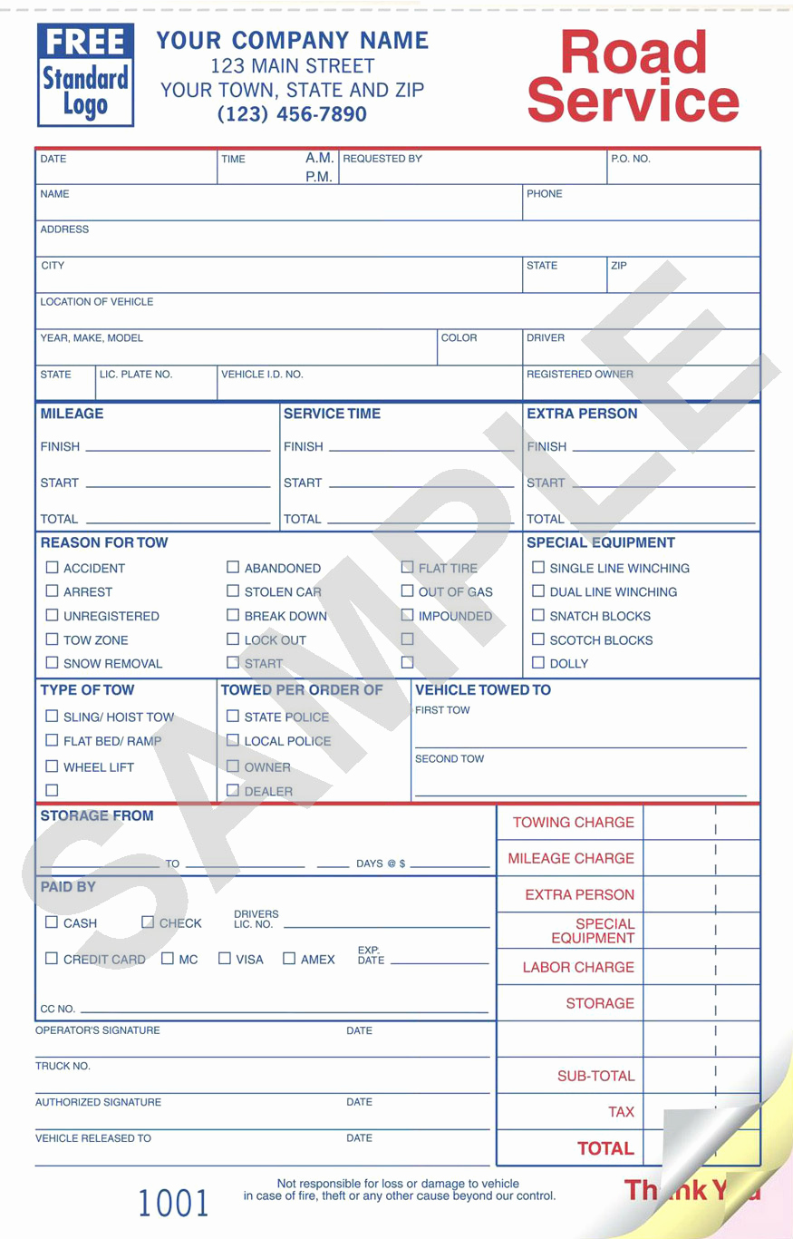 Free towing Invoice Template New towing Receipt Template