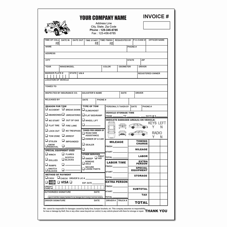 Free towing Invoice Template Unique towing Invoice Roadside Service forms