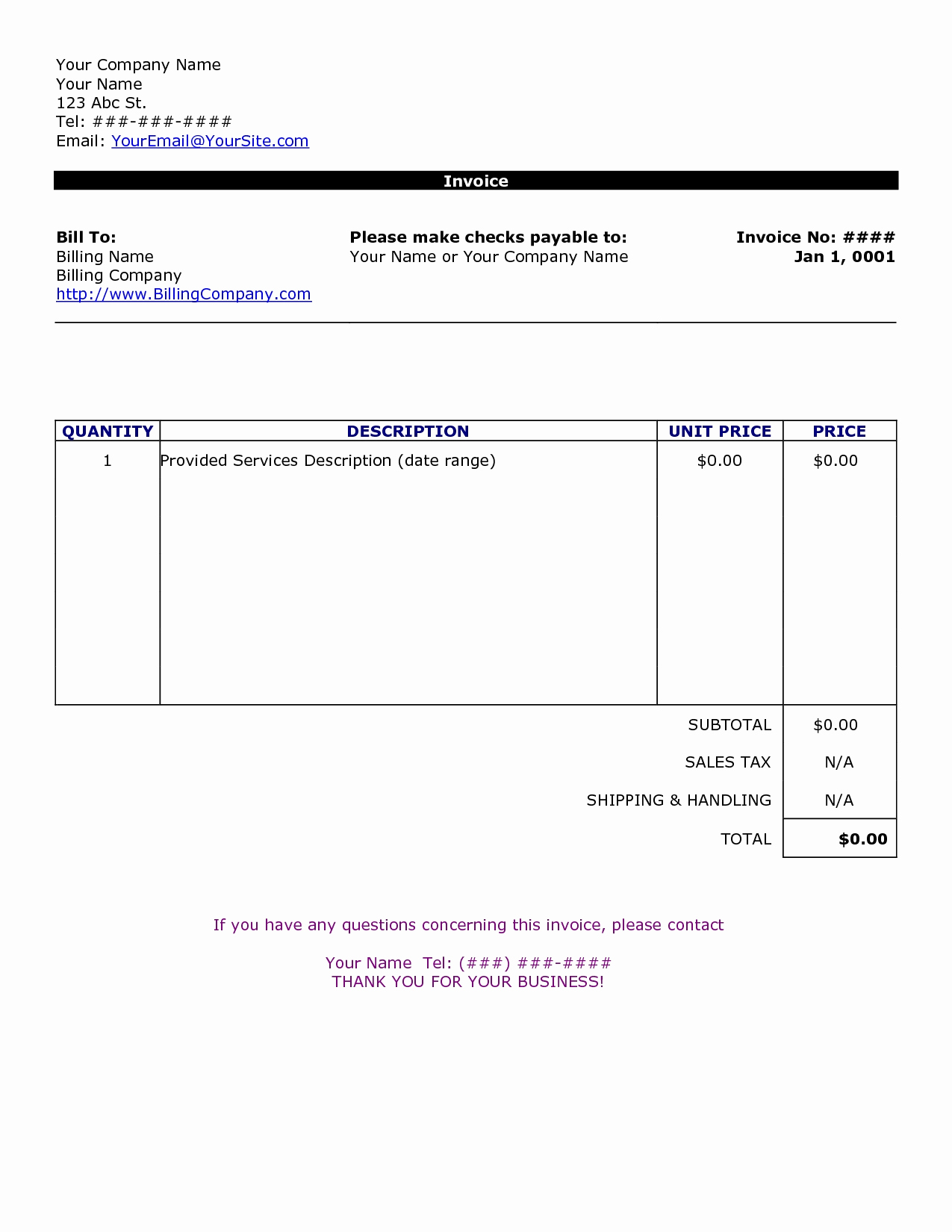 Free Word Invoice Template Lovely Word Document Invoice Template