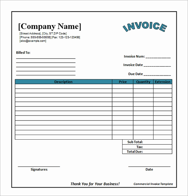Free Word Invoice Template Luxury Free 47 Sample Blank Invoice Templates In Word