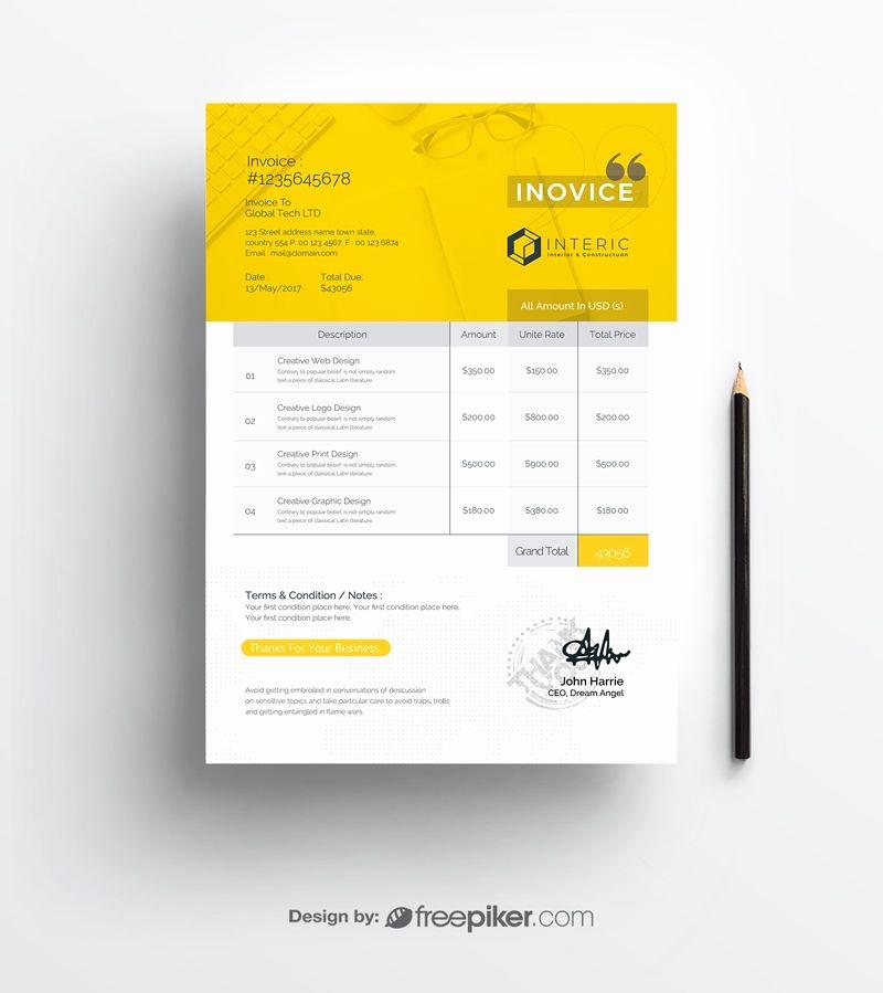 Freelance Graphic Design Invoice Template Elegant Simple Creative Invoice Template