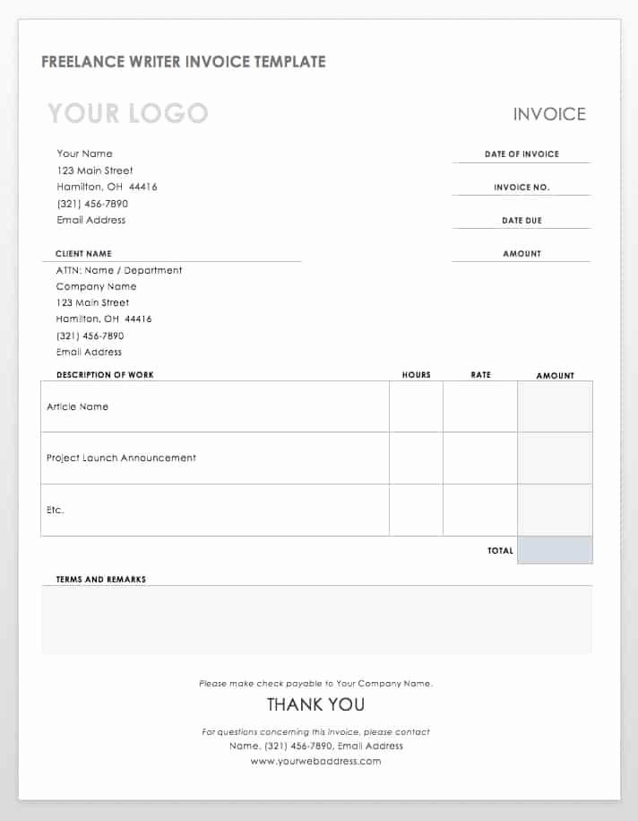 Freelance Writing Invoice Template Elegant 55 Free Invoice Templates