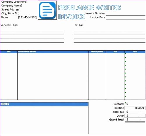 Freelance Writing Invoice Template Lovely 6 Freelance Invoice Template Excel Exceltemplates