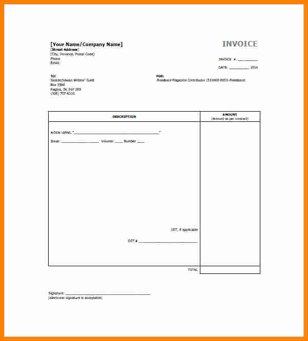 Freelance Writing Invoice Template Lovely 7 Freelance Bill Template